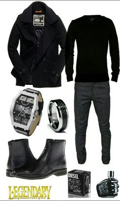 Men's black casual dressy outfit