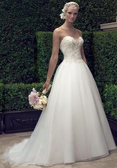 Strapless, A-line wedding dress with beading. Available in plus-size   Casablanca Style 2191   https://www.theknot.com/fashion/2191-casablanca-bridal-wedding-dress?utm_source=pinterest.com&utm_medium=social&utm_content=may2016&utm_campaign=beauty-fashion&utm_simplereach=?sr_share=pinterest