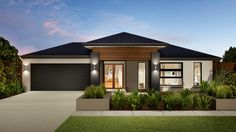 The Cromwell radiates luxury, beauty and contemporary design with a distinct family vibe. View more homes at Carlisle Homes. Home Building Design, Building A House, Carlisle Homes, House Outside Design, Modern Front Yard, Ranch Style Homes, Home Landscaping, Facade House, House Facades