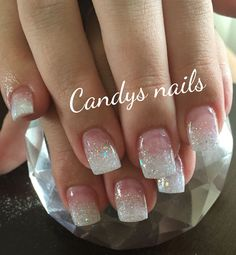 White tips with glitter glitter nail tips, white tip acrylic nails, glitter french nails French Tip Nail Designs, Gel Nail Designs, Pedicure Designs, Cute Nails, Pretty Nails, My Nails, Prom Nails, Wedding Nails, Glitter Wedding