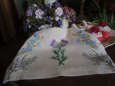 Stunning Vintage Tea Cosy Hand Embroidered Thistles, Heather, Bluebells, and Buttercup