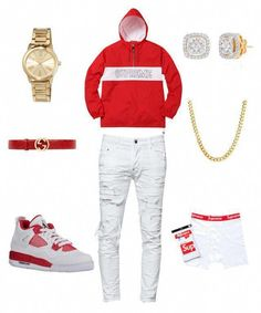 A menswear look from October 2017 featuring mens white jeans, mens stainless steel necklace and hanes boxer briefs. Browse and shop related looks. Dope Outfits For Guys, Swag Outfits Men, Stylish Mens Outfits, Nike Outfits, Tomboy Outfits, School Outfits, Men's Fashion, Teen Boy Fashion, Fashion Trends