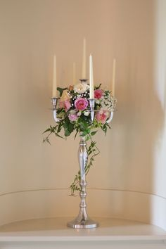 Candelabra with scented English roses and jasmine trails at Mercure Walton Hall Hotel and Spa, Warwickshire. Candleabra Wedding Centerpieces, Candelabra Flowers, Altar Flowers, Church Flowers, Flower Centerpieces, Flower Arrangements, Wedding Decorations, Diy Wedding Flowers, Floral Wedding
