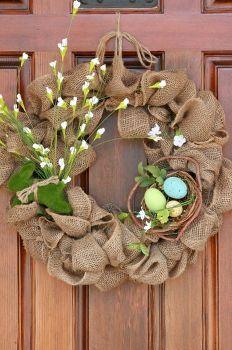 más fácil corona de arpillera primavera, temporada de vacaciones d cor, guirnaldas