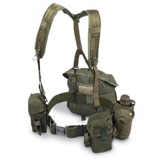 I Have 2 of these. One is connected to my bicycle. to carry extra water and supplies (No harness, just the belt, canteens and pack Military Surplus, Military Gear, Military Equipment, Military Ranks, Army Gears, Airsoft Helmet, Tac Gear, Tactical Belt, Chest Rig