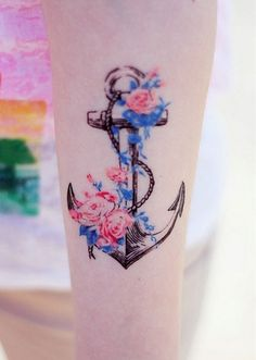 Anchor tattoo anyone? Anchor tattoo anyone? A different take on an anchor tattoo. I love the colors of the flowers and vine. Latest Tattoo Design, Tattoo Designs For Women, Colour Tattoo For Women, 16 Tattoo, Get A Tattoo, Tattoo Ink, Wild Tattoo, Lace Tattoo, Samoan Tattoo