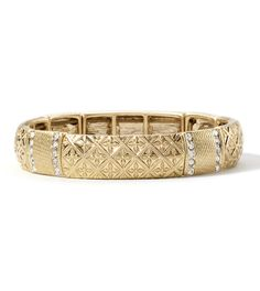 """""""Rue"""" Stretch Bracelet  Channel your inner Parisian in this glamorous textured bracelet accented with delicate cut crystals."""