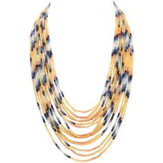 Spectacular 14 Strand Sapphire Bead Necklace | From a unique collection of vintage beaded necklaces at https://www.1stdibs.com/jewelry/necklaces/beaded-necklaces/