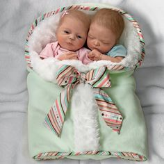Ashton Drake Lifelike Twin Baby Doll Set By Donna Lee: Madison And Mason Meet Madison and Mason, two incredibly lifelike baby dolls who are sure to make every day doubly delightful! Madison is a beautiful baby girl with deep blue eyes and an angelic face, while her brother Mason is the snugly one in the family, always cuddling with his big sister, especially when he's napping. #AshtonDrake #BabyDolls #CollectibleDolls