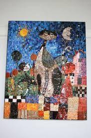 Resultado de imagen para kitten painting black mosaic glass