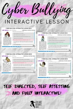 Are you looking to help your students develop coping skills for cyber bullying with a self-directed, interactive lesson that provides immediate feedback? This activity can be set as classwork, homework or remotely such as via distance learning. You can share the link and password with your students via a projector or on Google Classroom, for example. It's so easy and there are absolutely no resources required – you don't even need to grade it as it is self-assessing! #cyberbullying Bullying Activities, Bullying Lessons, Time Activities, Teaching Character, Character Education, Character Development, Life Skills Lessons, Health Lessons, Cyber Bullying