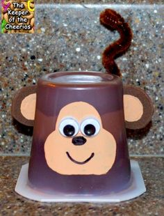 monkey pudding cup - cute lunch box snack for kids