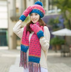 Women beret hat scarf and gloves set for winter with fringe