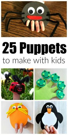25 Adorable DIY Hand Puppets to Make with Kids! Perfect craft for story time, themed units, rainy day fun or as a pack & play for babysitters. LalyMom #puppets #DIY #crafts #craftsforkids #toddlers #preschool #kindergarten #classroom #homeschool