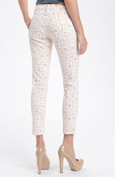 Current/Elliott 'The Stiletto' Print Skinny Jeans (Sweet Cream Wash)