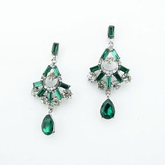 Emerald green earrings statement earrings chandelier by eBijoux, $10.99