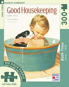 """Bath Time is part of the Good Housekeeping 300 piece jigsaw puzzle series by New York Puzzle Company that features extra large puzzles for easy holding. Actual piece size is 2"""" across. Puzzle measures 20"""" x 27"""" when complete. This puzzle features the June 1932 cover of the well-loved women's magazine Good Housekeeping, first published in 1885. The magazine is owned by the Hearst Corporation and features literary articles in addition to articles about women's interests, recipes, diet, and…"""