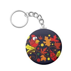 Red Cardinal Bird and Autumn Leaves Abstract Art Key Chain #cardinals #birds #autumn #keychains #leaves #art And www.zazzle.com/inspirationrocks*
