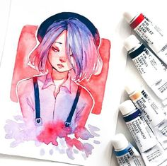 I love such a days then I don't have important and urgent things to do. Life seems to be so slow and calm and I try to enjoy every second (knowing that it won't be forever uhh). It's a nice day today. Watercolor Girl, Watercolor Drawing, Watercolor Paintings, Amazing Drawings, Cool Drawings, Amazing Art, Pencil Drawings, Inspiration Art, Art Inspo