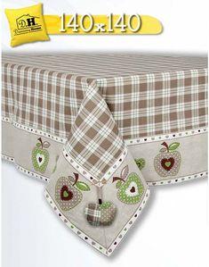 Tovaglia Country Chic Collezione Mele in beige 140x140 Angelica Home & Country