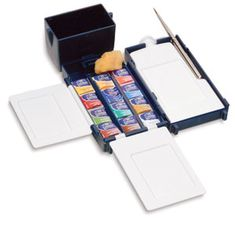 A fabulous, compact little set of watercolors that I want mostly because of the wonderful little box and the way everything folds up so tidy and small inside there.