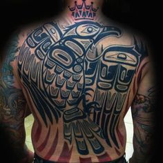 Majestic Black Bird Haida Tattoo Male Back