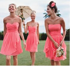 LOVEEEE these bridesmaid dresses and the light coral color!!!! would look awesome with dark brown cowgirl boots!