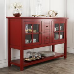 """52"""" Wood Console Table Tv Stand - Antique Red"""