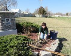 Linda Behrns took part in her second volunteer activity during ServeNebraska Week in Louisville, NE.  This time she cleaned and prepared city flower beds for the annual spring plantings.