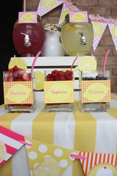 Lemonade Stand Party Theme Nice idea for a baby shower - but use the already sli ., Lemonade Stand Party Theme Nice idea for a baby shower - but use the already cut frozen strawberries in syrup much more delicious. Baby Shower Brunch, Shower Party, Bridal Shower, First Birthday Parties, First Birthdays, Birthday Ideas, Pink Lemonade Party, Strawberry Lemonade, Lemon Party