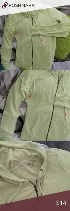 Lightweight zip-up hoodie Lime green with tie hoodie and zip front with front pockets Looks brand new;)) size med Arizona Jean Company Tops Sweatshirts & Hoodies