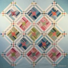 Happy Needle and Thread Thursday, and Happy Valentine's Day, friends! My latest baby quilt is finished, and the pink and gold palette is a f. Jellyroll Quilts, Scrappy Quilts, Baby Quilts, Patchwork Quilting, Star Quilts, Quilt Blocks, Layer Cake Quilts, String Quilts, Contemporary Quilts