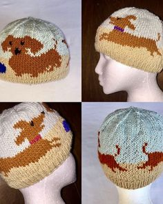 Darling Dachshunds Hat Knitting Pattern in two sizes; ages 4 - with a finished circumference of and adult medium with a finished circumference of In PDF format. Dachshund Clothes, Dachshund Love, Loom Knitting, Baby Knitting, Dinosaur Hat, Knitting Patterns, Knit Crochet, Crochet Hats, Hunting Dogs