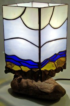 Tiffany stained glass box lamp by Colin Baldwin.
