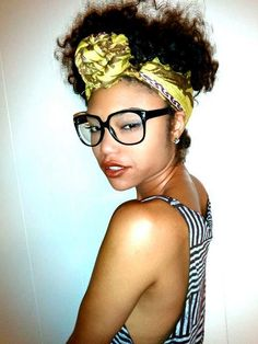 scarf, glasses, lip stick, oh, of course, HAIR