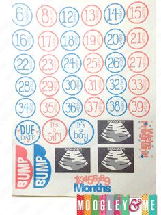 40 Pregnancy Stickers for your Horizontal and Vertical Erin Condren Life Planner, Kikki K, Happy Planner, Filofax or any daily planner! by MoogleyandMe on Etsy