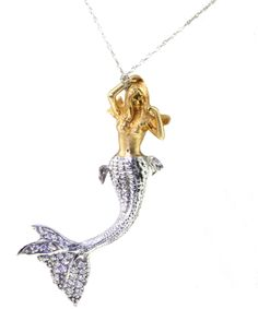 "Atelier Minyon > ""Protector of the Oceans"" Mermaid 18k & Diamond Necklace"