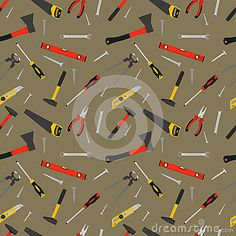 Seamless pattern of hand work tools-ax, saw, screwdriver, knife