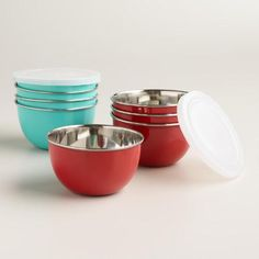 One of my favorite discoveries at WorldMarket.com: Stainless Steel Mixing Bowls with Lids, Set of 2