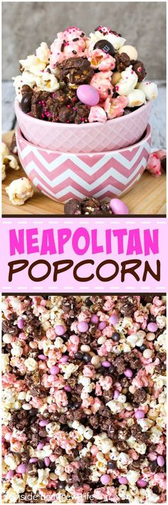 Neapolitan Popcorn - this easy no bake snack mix is coated in chocolate, vanilla, and strawberry chocolate and loaded with chocolate candies. Easy no bake snack mix recipe to make for movie nights or parties. #popcorn #chocolate #strawberry #nobake #snackmix #neapolitan