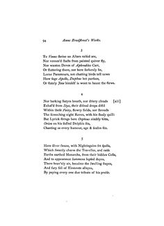 "a reaction to the poems of anne bradstreet 1 though a pious puritan, anne bradstreet's poem to her ""dear and loving husband"" is a passionate plea for true and everlasting romantic love."