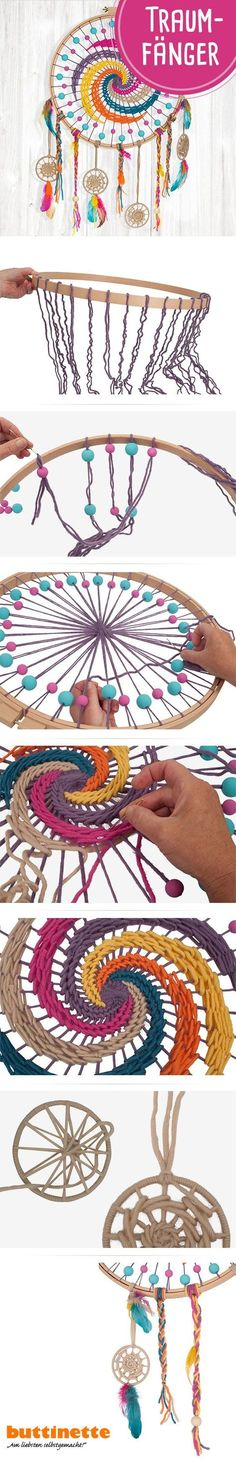 Make a dream catcher in beautiful boho colors # Dream Catcher it Yourself The post Make a dream catcher in beautiful … appeared first on Woman Casual - DIY and crafts Diy Dream Catcher For Kids, Dream Catcher Craft, Dream Catcher Boho, Dream Catchers, Embroidery Hoop Crafts, Vintage Embroidery, Embroidery Patterns, Crochet Patterns, Diy Beauty Crafts