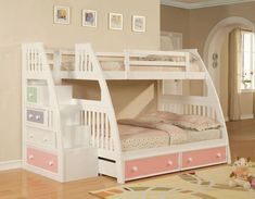 Bunk Beds with Stairs | Ligo Color Box White Twin over Full Bunk Bed - $1,199 (can't afford, but WOW!)