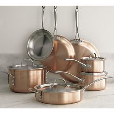 Copper pot and pan set from Crate and Barrell