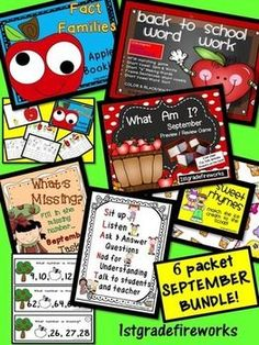 September MegaBUNDLE WOWZA!  6 products in 1 !!!! WOW! 6 September Packets in one MEGA BUNDLE!  Bundle Includes:  Fact Families Apple Booklet What's Missing September TASK Cards Back to School Word Work What Am I? September Preview/Review Game Sweet Rhyme