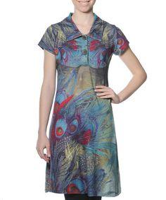 This Blue & Fuchsia Peacock Hera Shirt Dress is perfect! #zulilyfinds