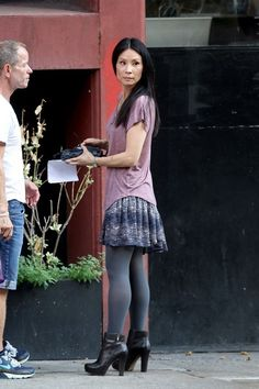 Lucy Liu - Lucy Liu Films 'Elementary' in NYC