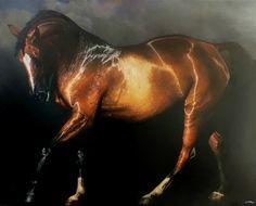 Alain Senez- golden bay horse art | caballo de bahía