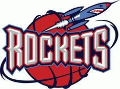 Houston Rockets Primary Logo (1996) - 'Rockets' on red basketball with a Rocket orbiting around it.