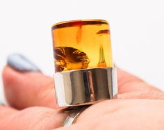 Handmade Baltic Amber ring 11g. Yellow Rings, Amber Ring, Baltic Amber, Etsy Seller, Rings For Men, Trending Outfits, Unique Jewelry, Handmade Gifts, Vintage